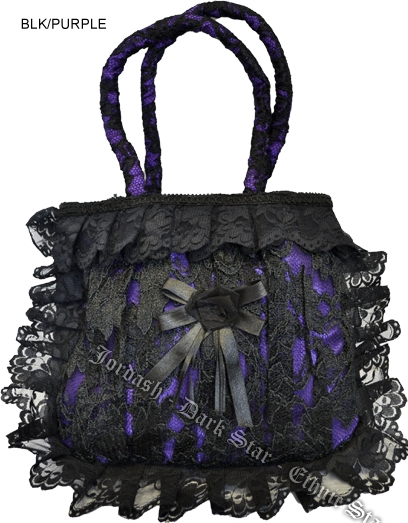 BLACK LACE HANDBAG Purple satin lining and rose
