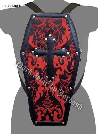 Dark Star PVC coffin shaped back pack Black/Red