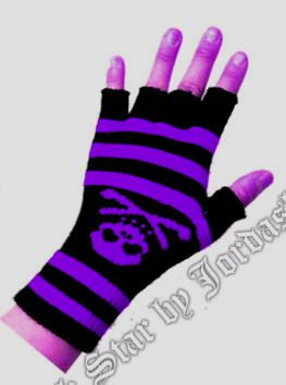 Short woollen fingerless gloves  Black/purple