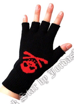 Short fingerless stretch gloves black/red