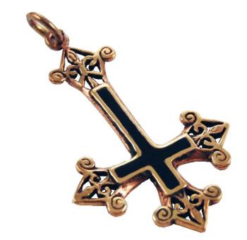 Bronze and black upside down cross pendant