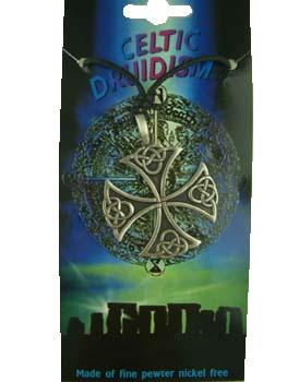 Pendant Pewter Celtic Druidism Cross 3.5 x 3.5cm WITH CORD