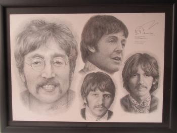 Beatles  Framed Drawing Signed Print