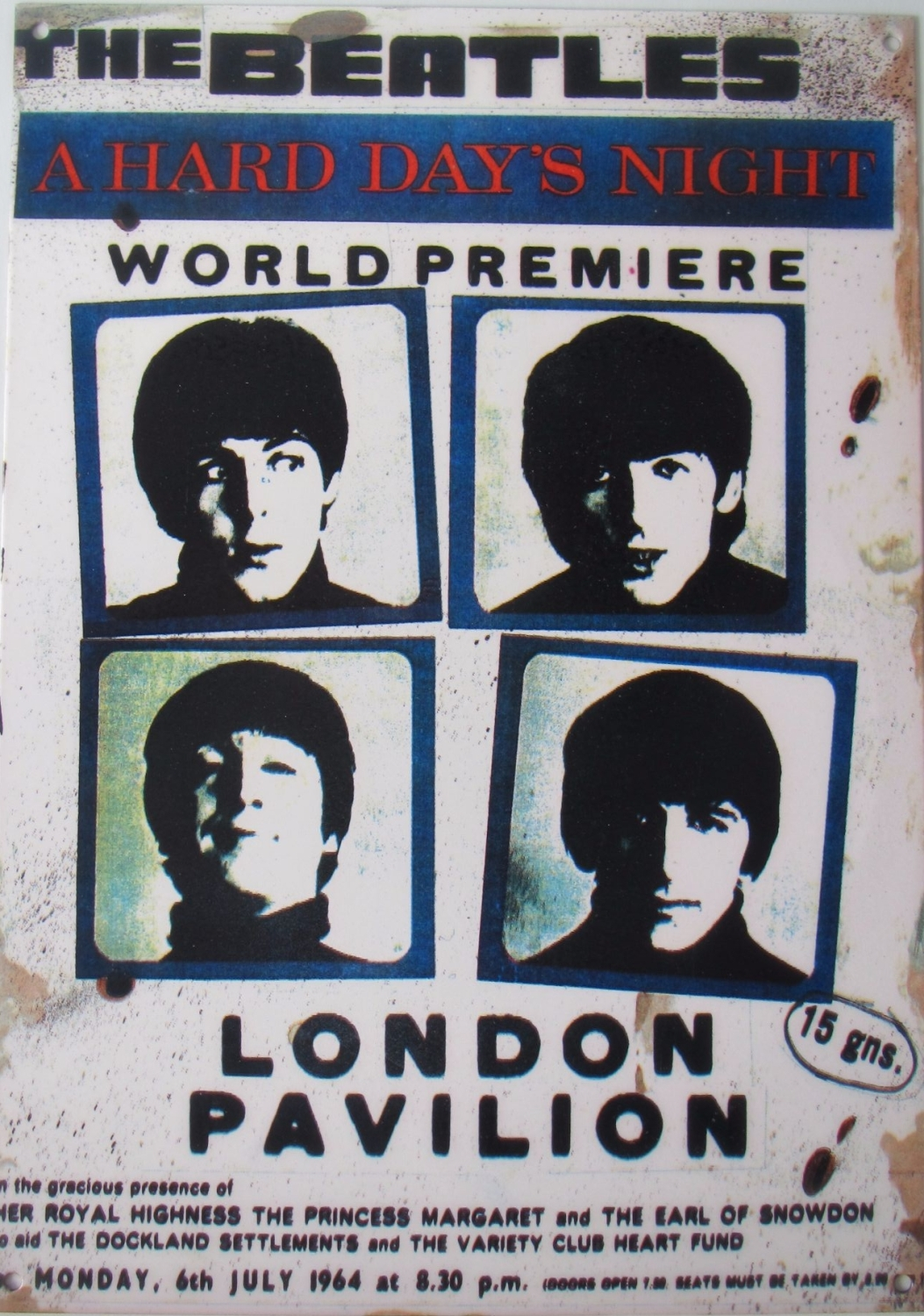 Beatles  A Hard Day Night  World Premiere Steel Plaque