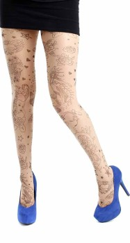 Pamela Mann Tattoo Hearts tights Natural/black