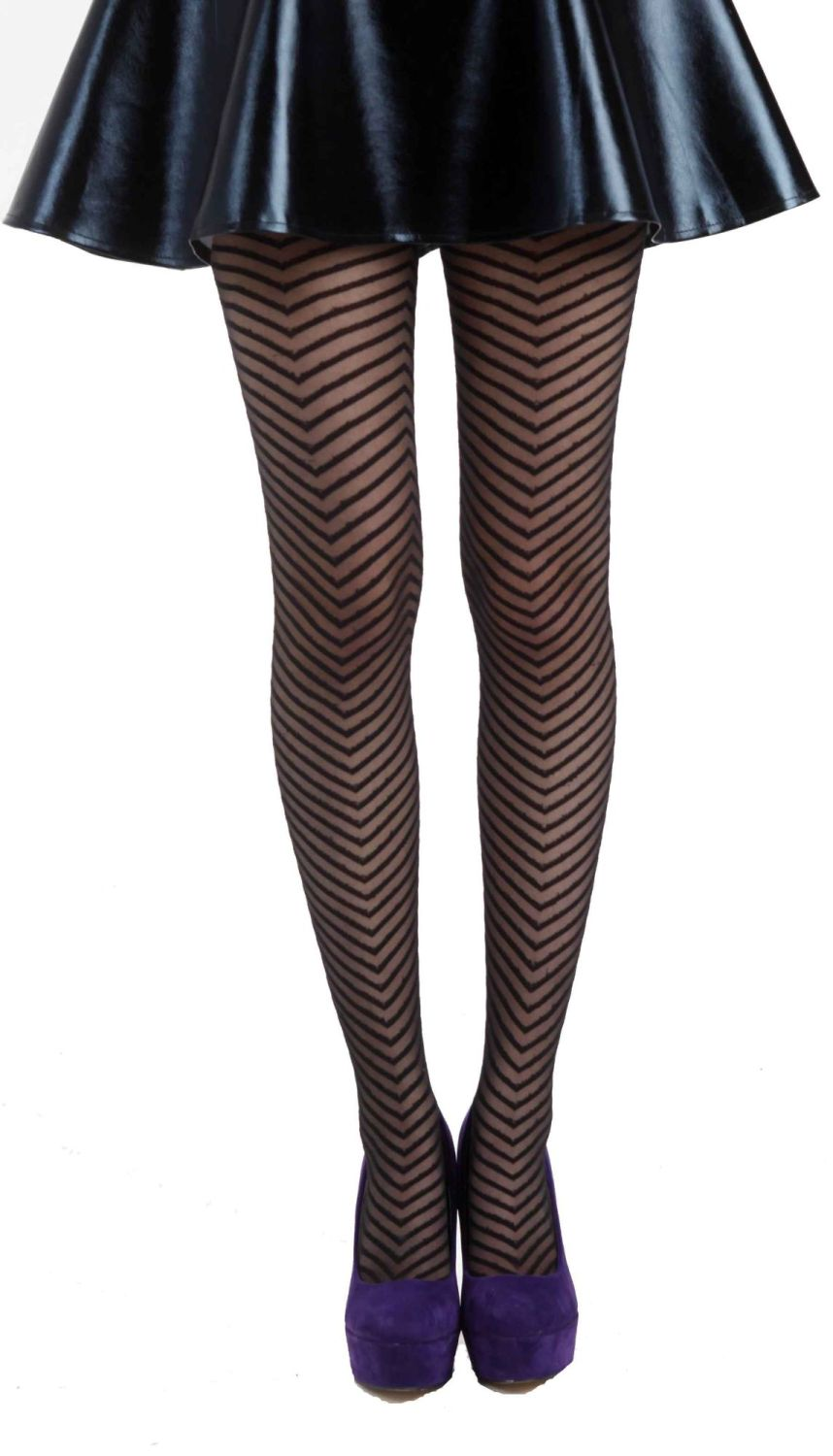 Pamela Mann Fishbone Sheer Tights Black size 28-32