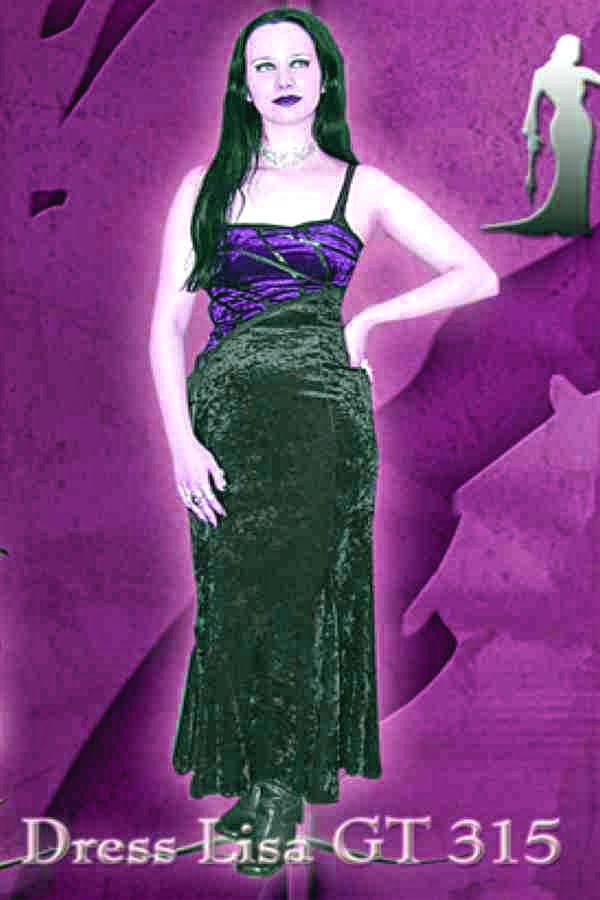 Laughing Vampire Goth Long Dress Lisa Black/Purple M/L NEW