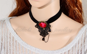 Romantic Black velvet Gothic chocker with Red rose flower design