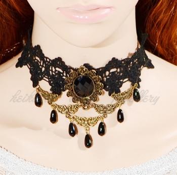 Romantic Black crystal beads pendant drape Gothic Lace necklace