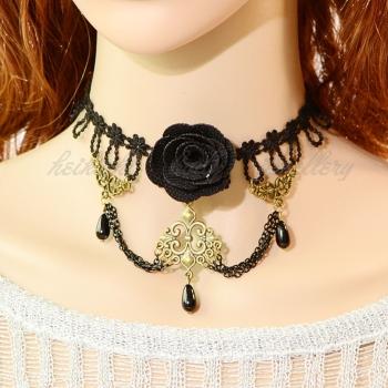 Romantic big black rose charm lace Gothic necklace