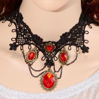 Romantic black lace Victorian Gothic necklace with Red crystal charms