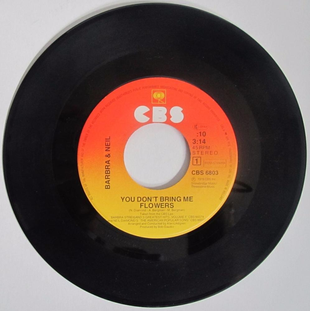 Barbra & Neil      You Don't Bring Me Flowers      1978 vinyl 7
