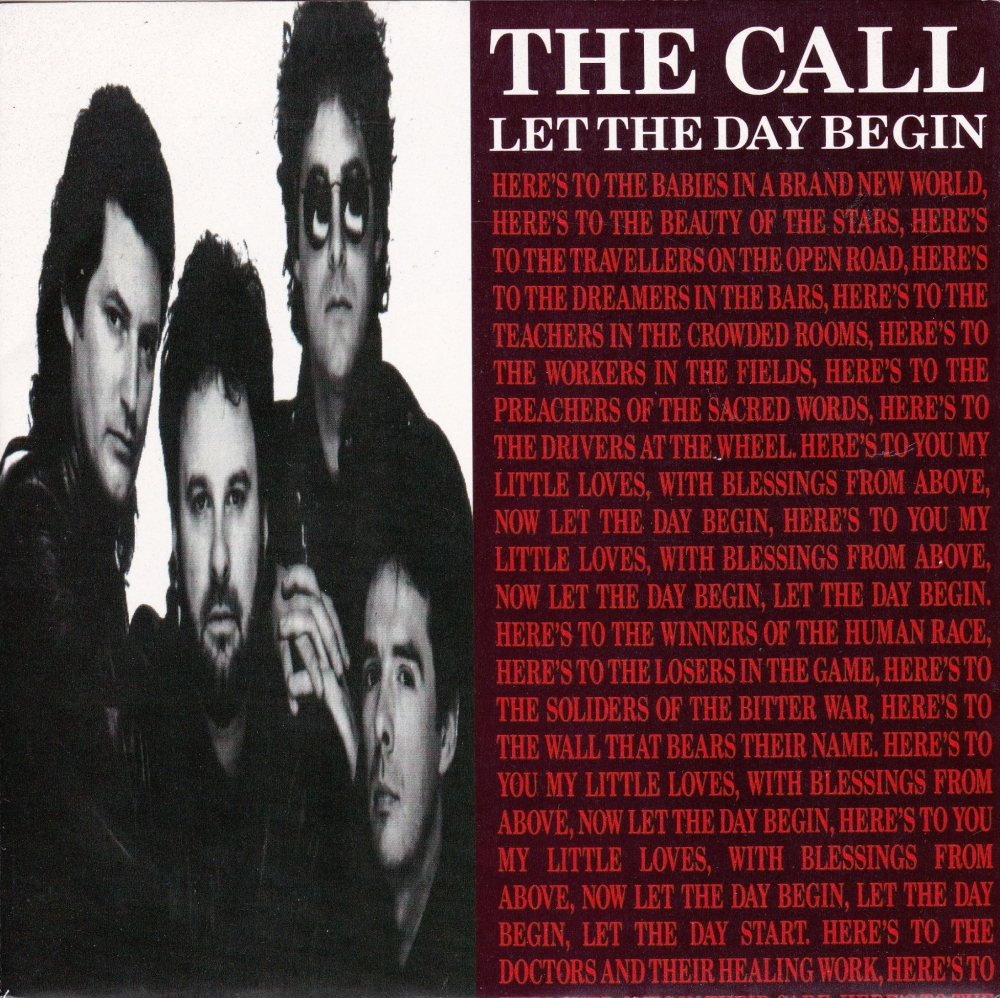 The Call       Let The Day Begin    1989 Vinyl 7