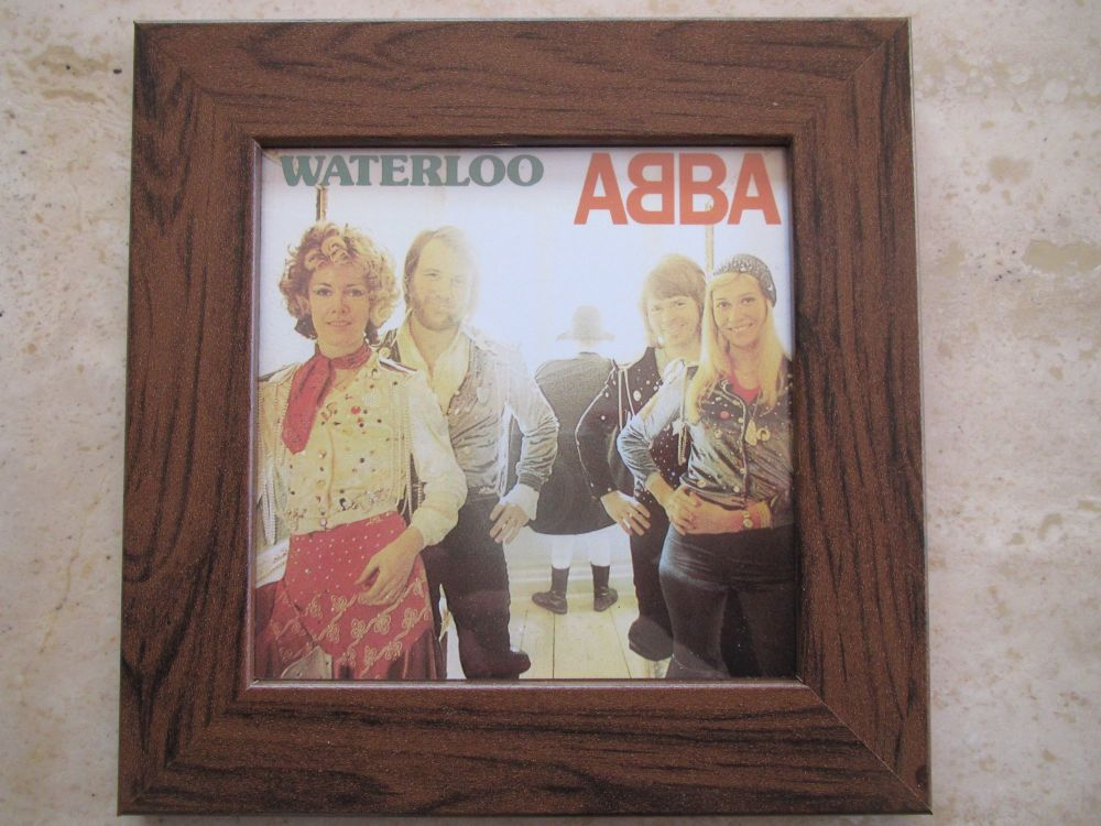 Abba  Waterloo     Framed Original CD Album Sleeve    Walnut Frame