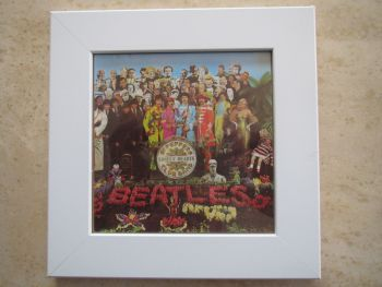 Beatles  Sgt Peppers Lonely Hearts Club Band  Framed  Original CD Album Sleeve   White Frame