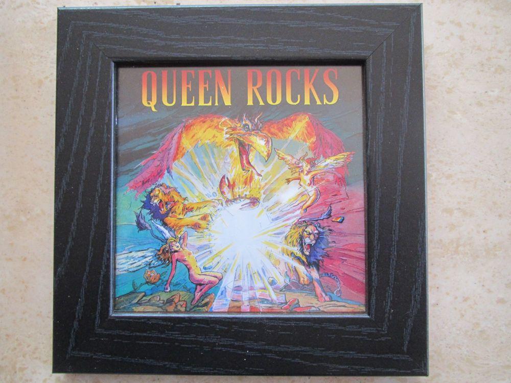 Queen Rocks     Framed Original Cd Album Sleeve     Black Frame