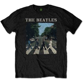 Beatles Abbey Road & Logo official licensed T-shirt Black