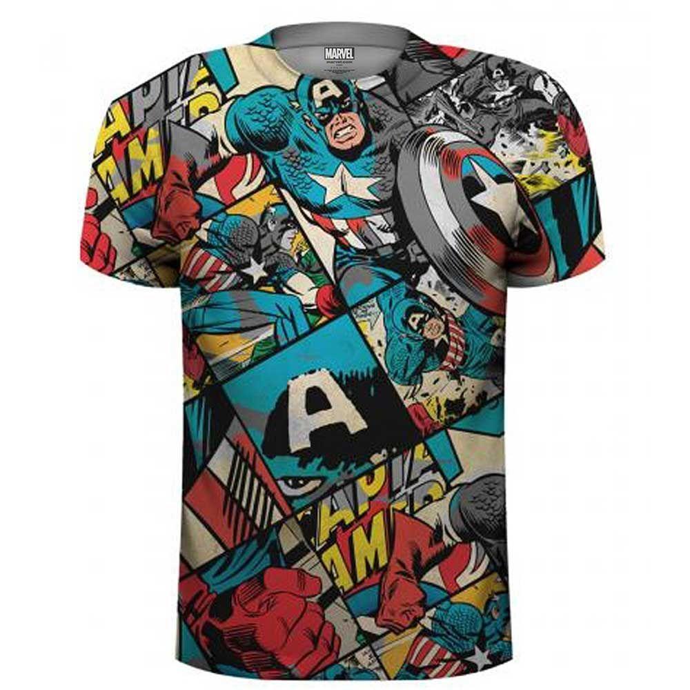 Marvel Comics Unisex Tee: Captain America Comic Strip (Sublimated) (XX-Larg