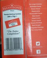 Harrisons Finest Tomato Ketchup Sauce Sachets Individual 10gX200 ** NEW CHEAPIST **
