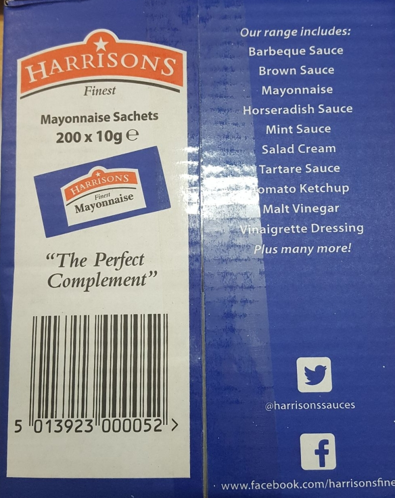 Harrisons Finest Mayonnaise Sachets Sauce Individual 10g ** NEW CHEAPIST **