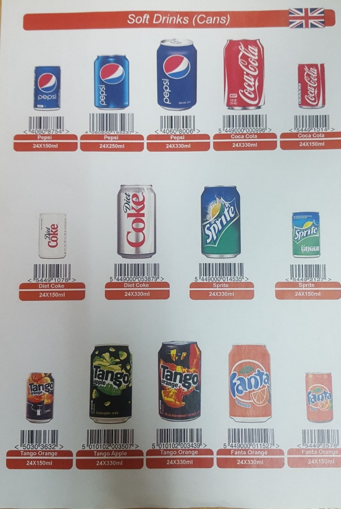 Cans 330x24 GB (Coke , Diet Coke, Sprite , Fanta, Pepsi, 7up, Tango, Mirind