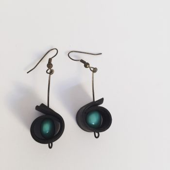 Innertube and Bead Dropper Earrings