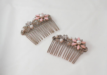 Pair of Vintage Enamel Hair Combs