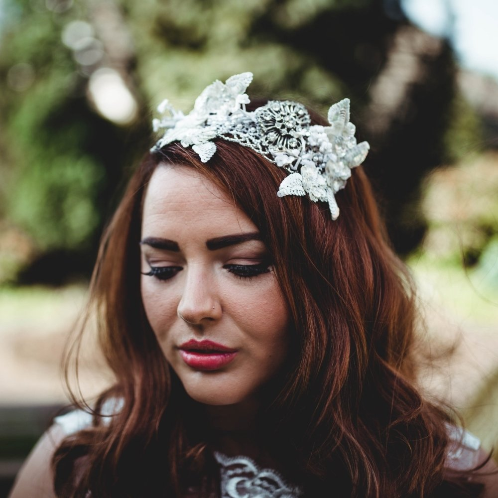 Floral Sequin Headband with Diamante Centre