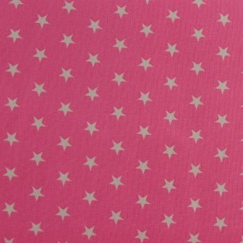 White Stars on Candy Pink (148cm wide fabric) (£9pm)