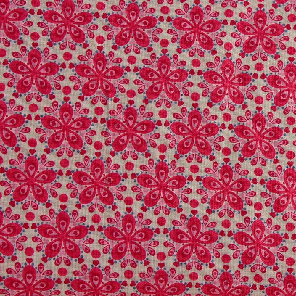 Julia - Star Flower - Cerise (150cm wide fabric)
