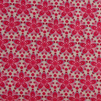 Julia - Star Flower - Cerise (150cm wide fabric) (£11pm)