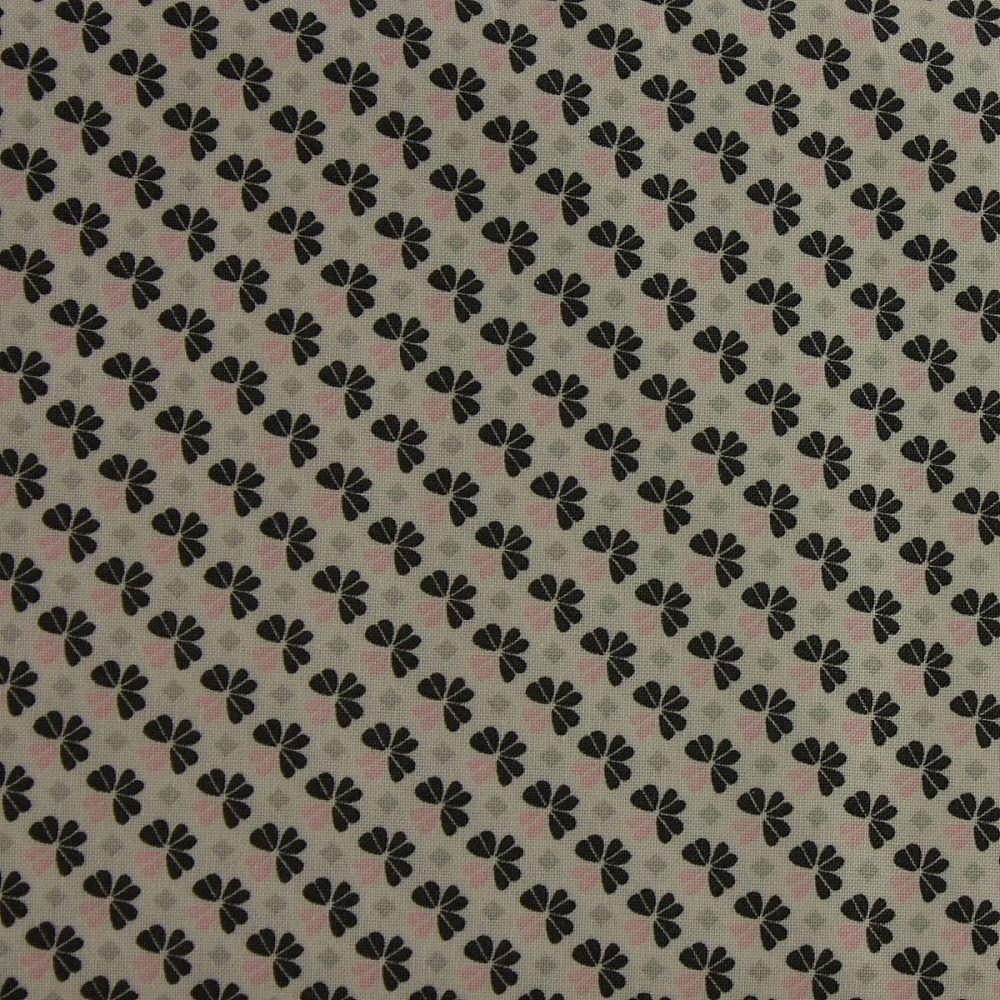 Julia - Small Flower - Grey & Pink (150cm wide fabric)