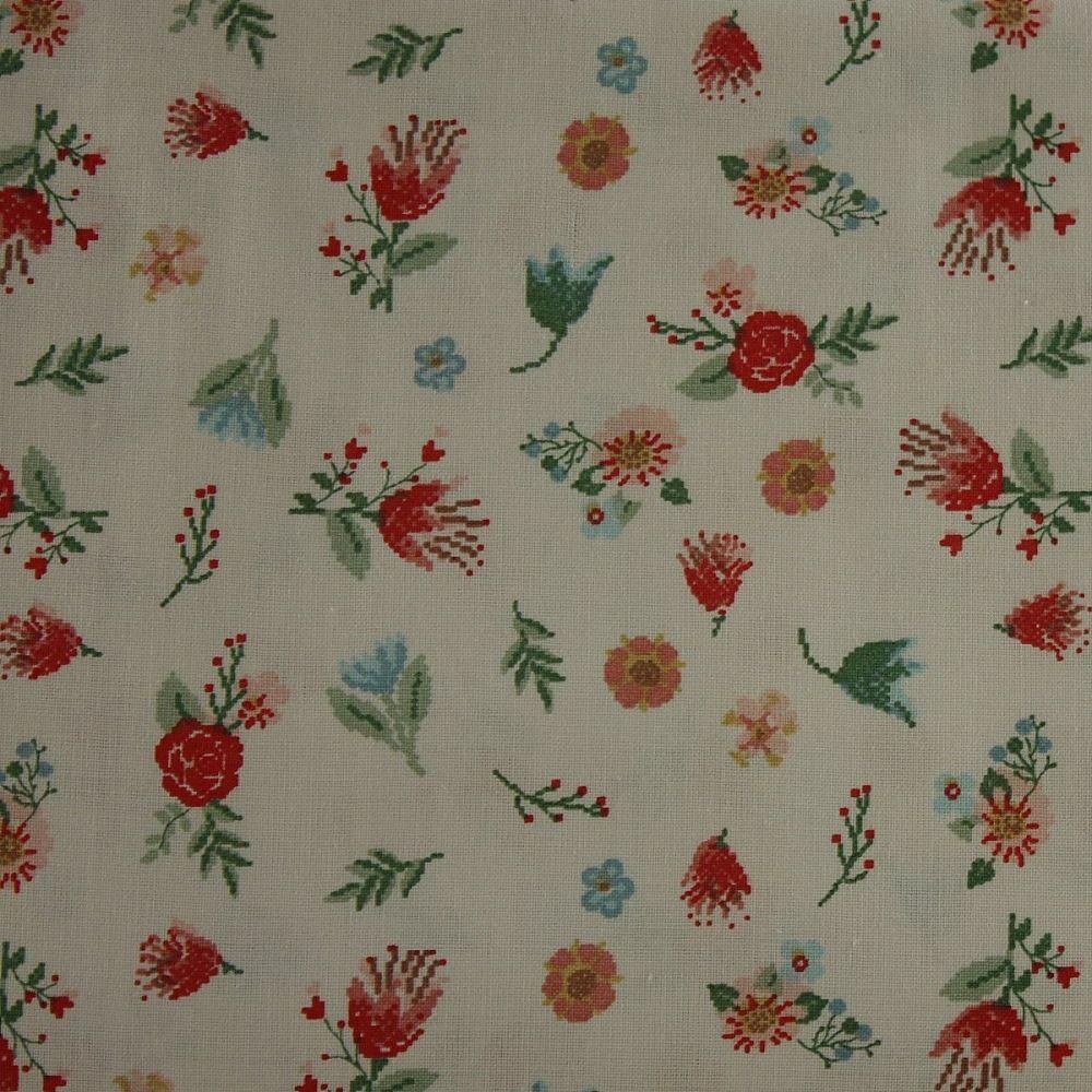 Rico Fabrics - White & Multicolour Flowers (140cm wide fabric)