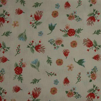 Rico Fabrics - White & Multicolour Flowers (140cm wide fabric) Fat Quarter