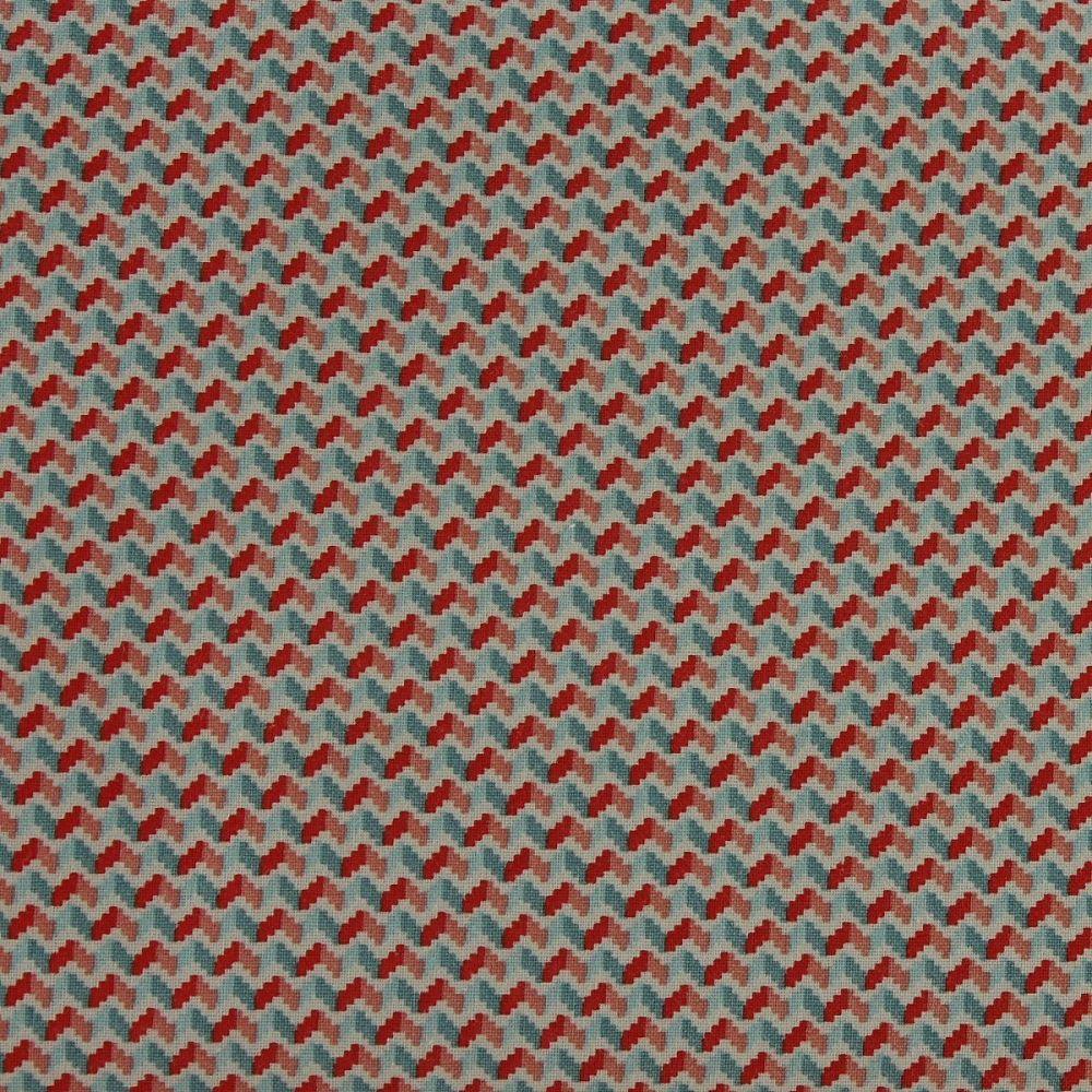 Rico Fabrics - Light Blue & Rose Zig Zag (140cm wide fabric)