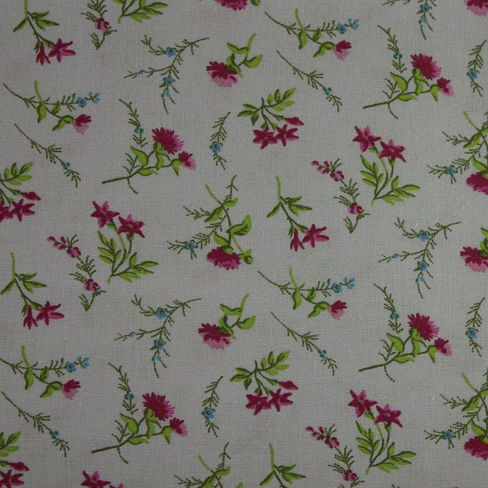 Rico Fabrics - Flowers Grey & Pink (160cm wide fabric)