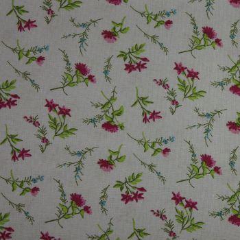 Rico Fabrics - Flowers Grey & Pink (160cm wide fabric) Fat Quarter