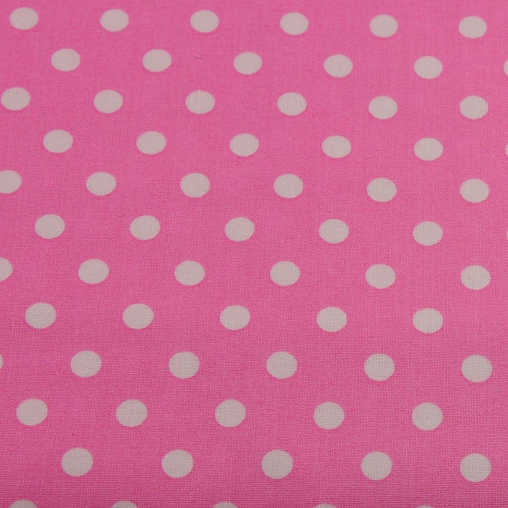 White Spots on Candy Pink (148cm wide fabric)