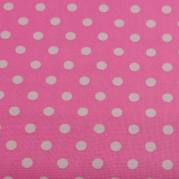 White Spots on Candy Pink (148cm wide fabric) (£9pm)
