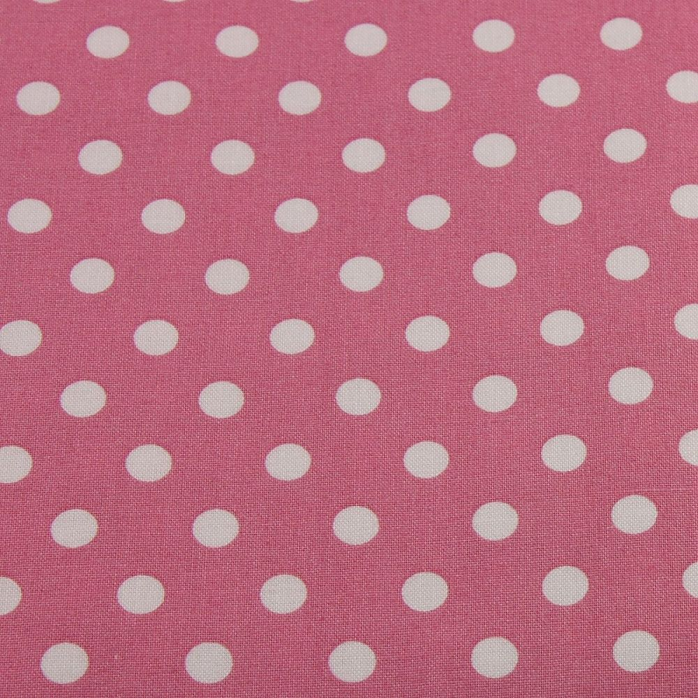 White Spots on Dusky Pink (148cm wide fabric)
