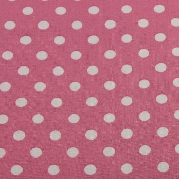 White Spots on Dusky Pink (148cm wide fabric) (£9pm)