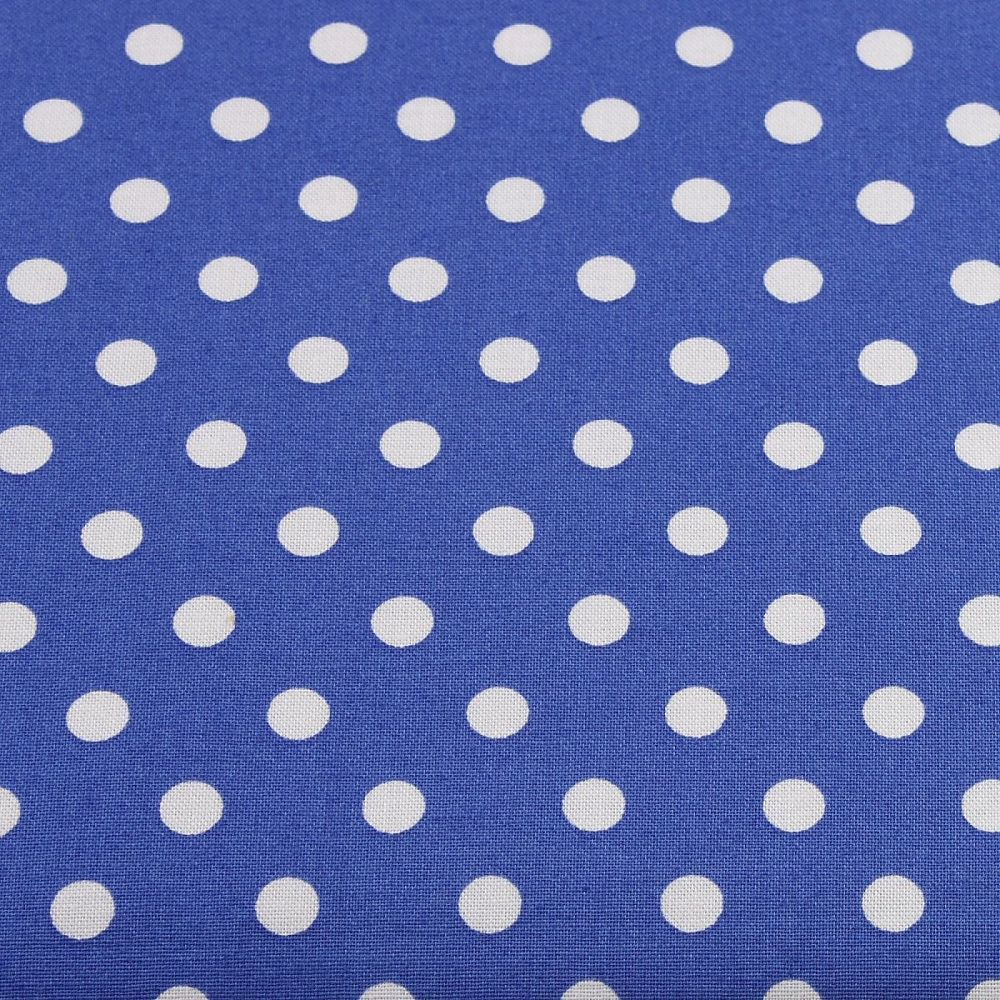 White Spots on Royal Blue (148cm wide fabric)