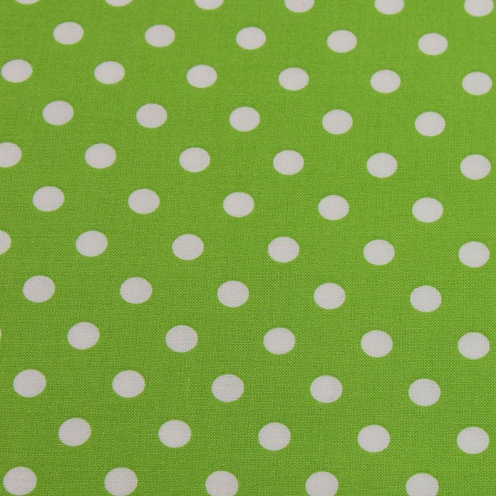 White Spots on Lime Green (148cm wide fabric)