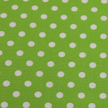 White Spots on Lime Green (148cm wide fabric) (£9pm)