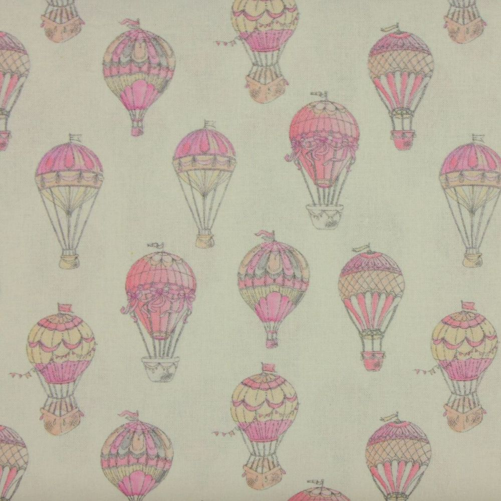 Indigo Fabrics - Hot Air Balloons in Pink (150cm wide fabric)