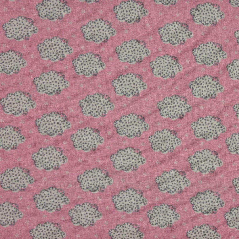 Indigo Fabrics - Clouds in Pink (150cm wide fabric)