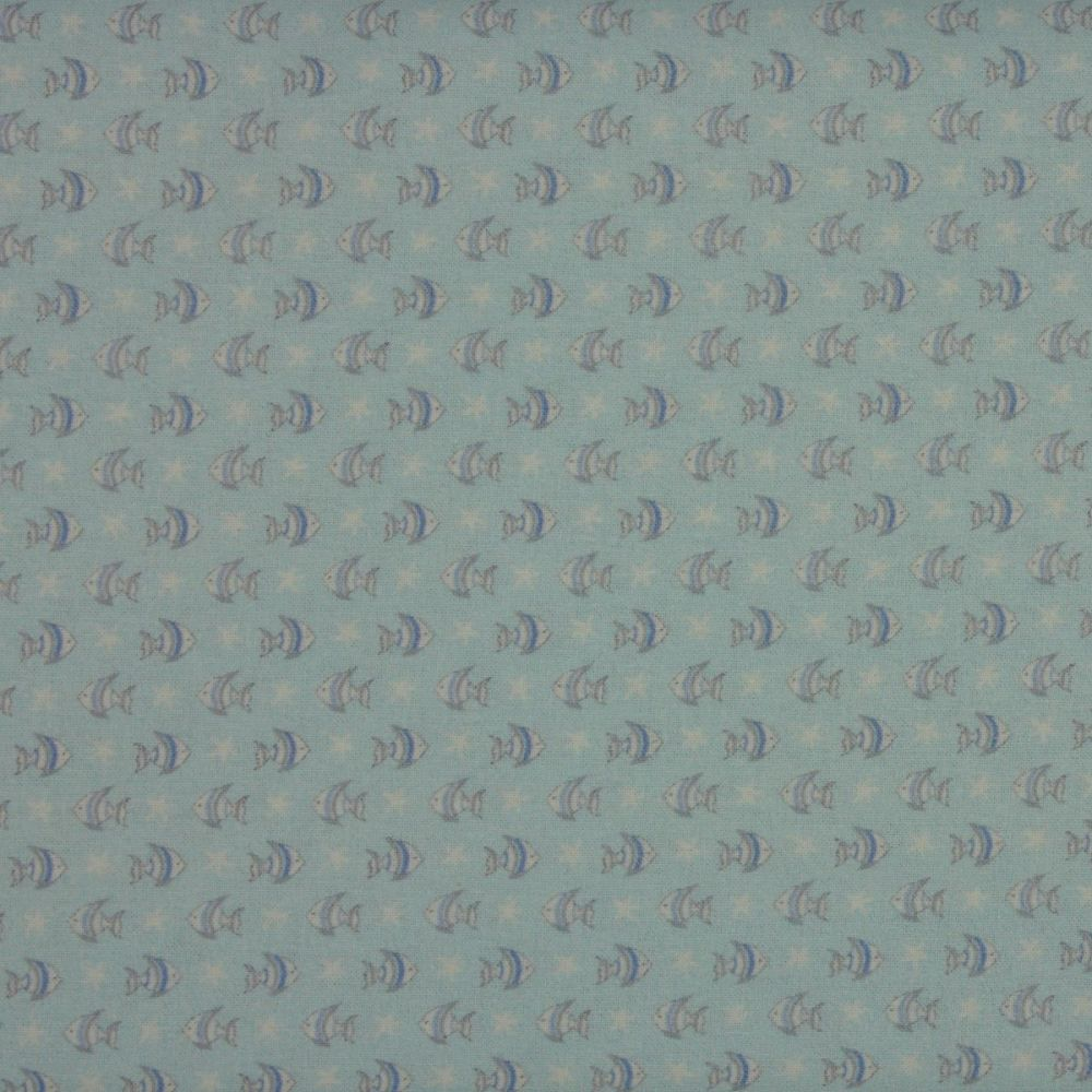 Indigo Fabrics - Baby Boom - Small Fish in Blue (150cm wide fabric)