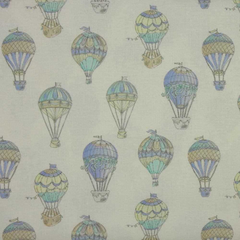 Indigo Fabrics - Hot Air Balloons in Blue (150cm wide fabric)