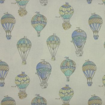 Hot Air Balloons in Blue (150cm wide fabric) (£12pm)