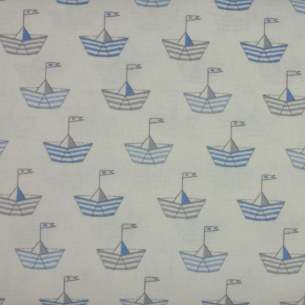 Indigo Fabrics - Baby Boom - Sail Boats in Blue (150cm wide fabric)